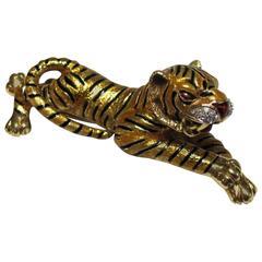 1960s Frascarolo Enamel Diamond Gold Tiger Brooch