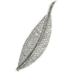 Diamond Set Gold Platinum Leaf Brooch