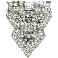 Art Deco Diamond Platinum Clip Brooch