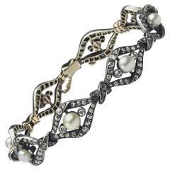 Pearl Diamond Gold Link Bracelet
