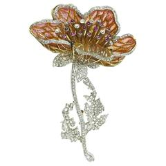 Orange to Yellow Enamel Diamond Poppy Brooch