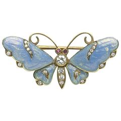 Guilloche Enamel Diamond Gold Butterfly Brooch