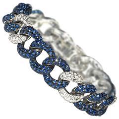 Sapphire Diamond Gold Curb Link Bracelet