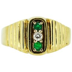 1970 Van Cleef & Arpels Emerald Diamond Gold Ring