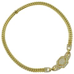 Cartier Yellow Gold Choker Necklace with Diamonds, Certificate & Box