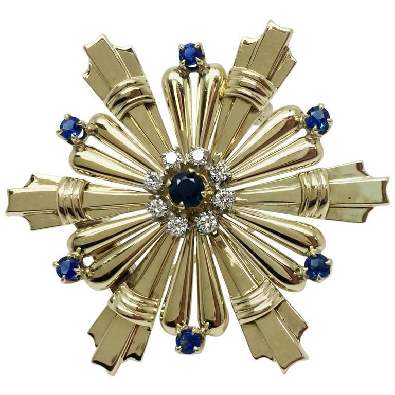 Tiffany & Co. Blue Sapphire Diamond Gold Brooch