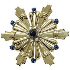 Tiffany & Co. Blue Sapphire Diamond Gold Brooch
