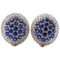 Mouawad Rosette Oval Diamond Sapphire Gold Earrings