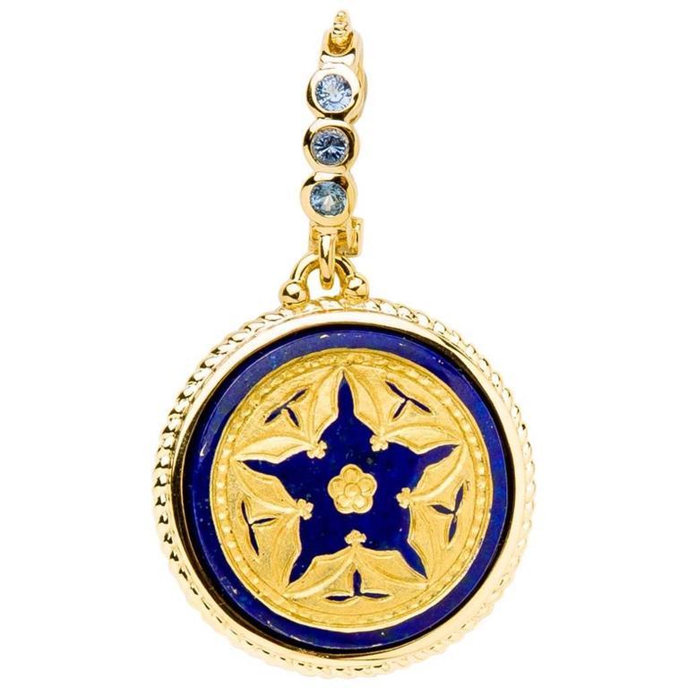 Lapis Lazuli Star Pendant with Gold Bezel