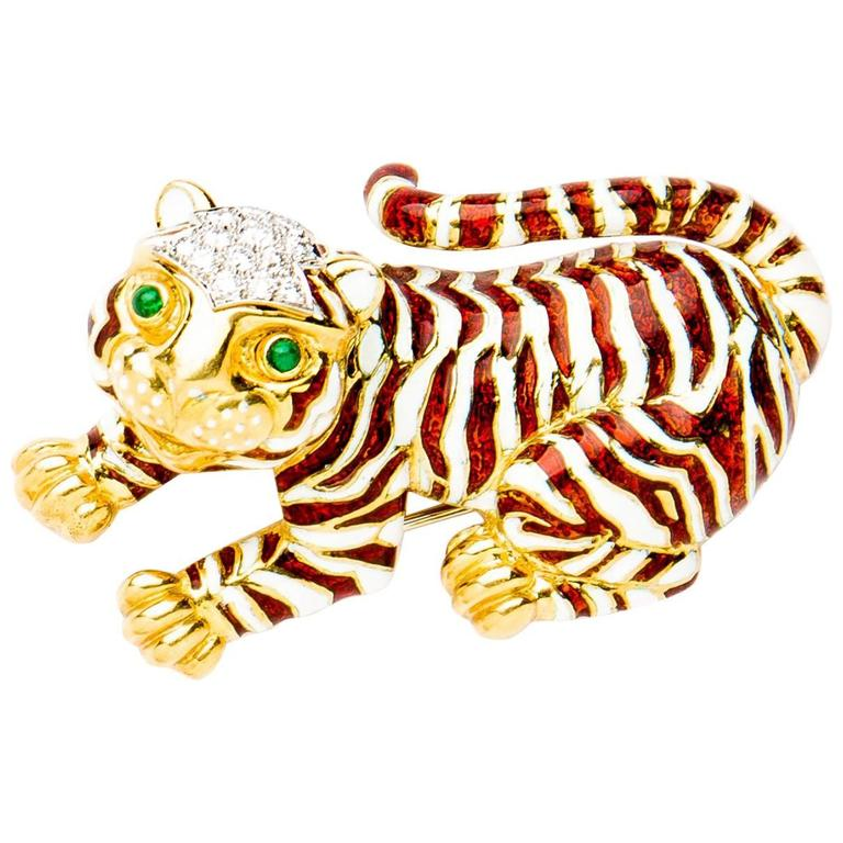 David Webb Gold Enameled Tiger Pin  For Sale