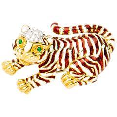 David Webb Gold Enameled Tiger Pin