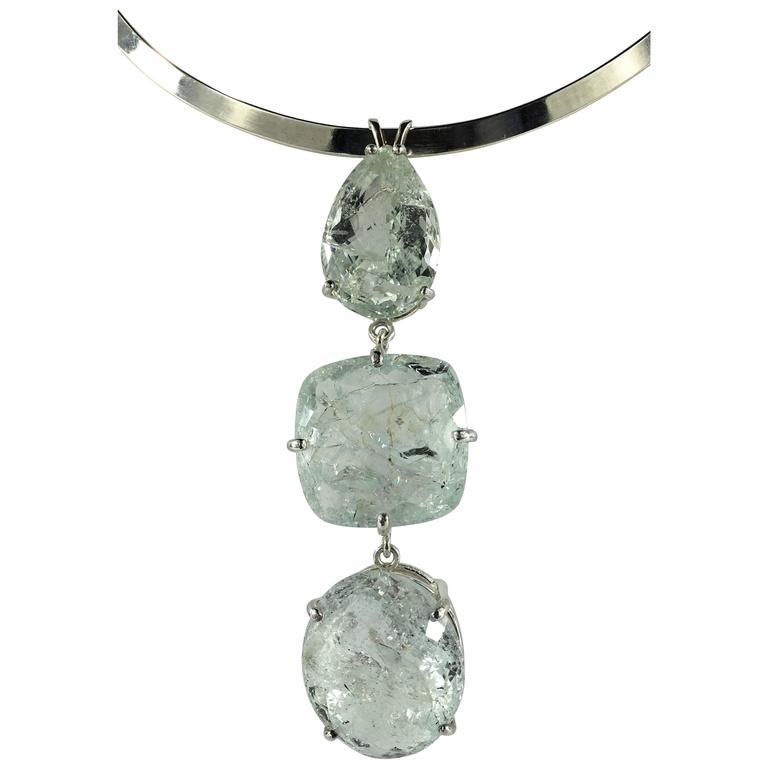 Three Stone Green Beryl Sterling Silver Vertical Pendant