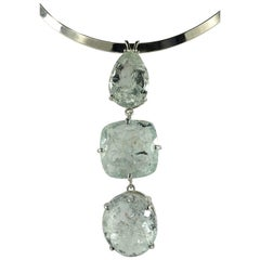 Gemjunky Magnificent Three stone Green Beryl Sterling Silver Pendant