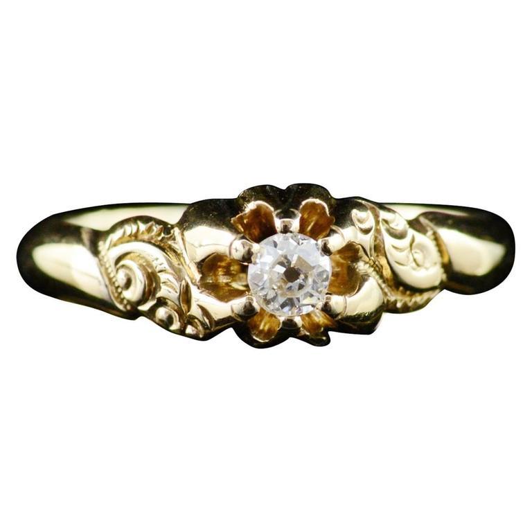 Victorian Mine Cut Diamond Gold Engagement Ring