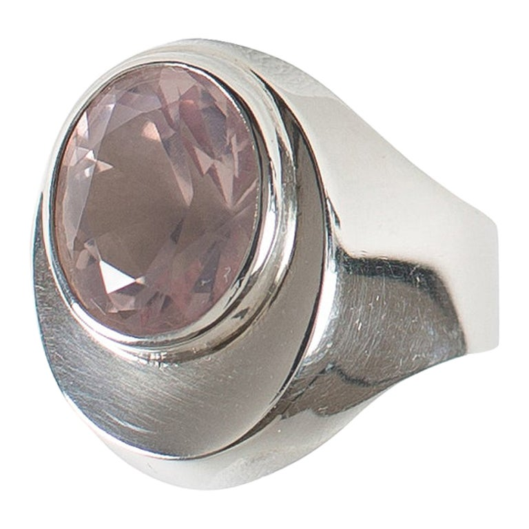 Rose Quartz Bezel Set in Handmade Sterling Silver Ring