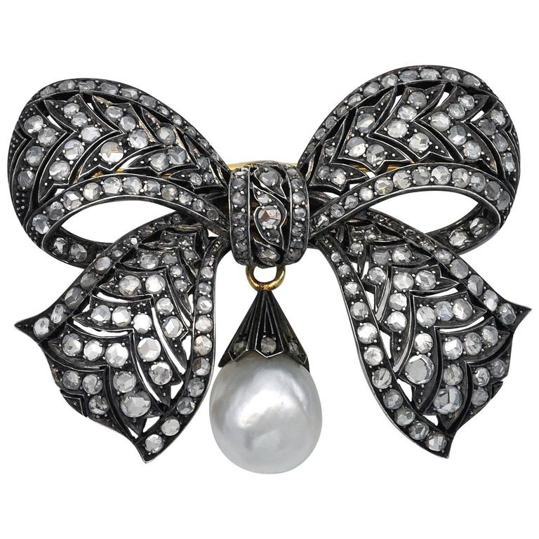 Victorian Diamond Silver Topped Gold Bow Brooch
