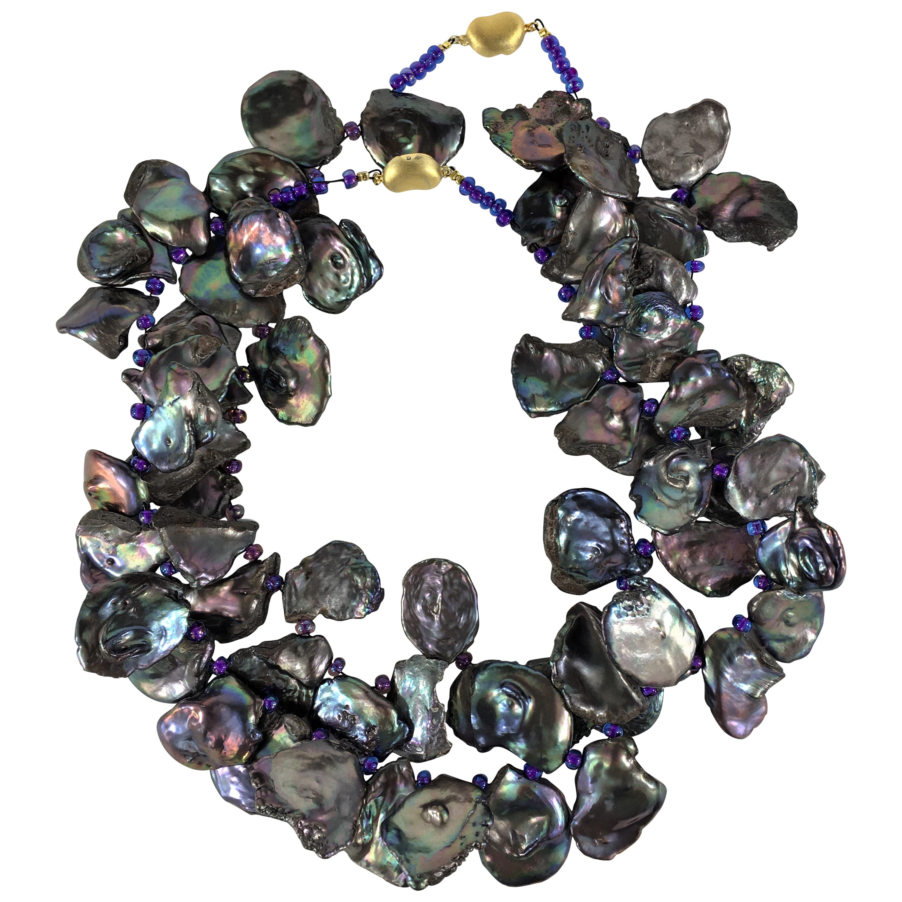 Gemjunky Double Strand Lavender Iridescent Keshi Pearl Necklace