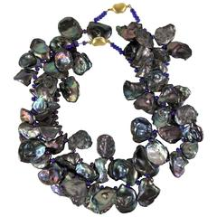 Double Strand Lavender Iridescent Keshi Pearl Necklace