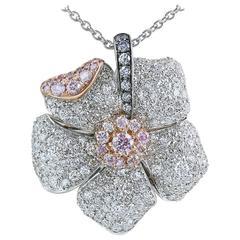 3.21 Carat Argyle Diamond Gold Blossom Pendant