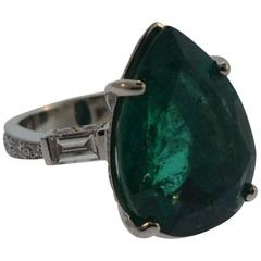 AAA Pear Shape Emerald Natural Beryl Ring w/ Diamonds, AGL Papers 19.47 TCW