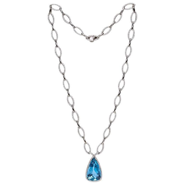 "A ""Samuel Getz"" Very Fine Santa Maria Aquamarine Diamond Gold Drop Necklace"