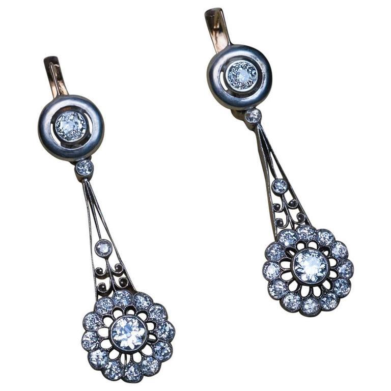 Antique Russian Day to Night Diamond Dangle Earrings