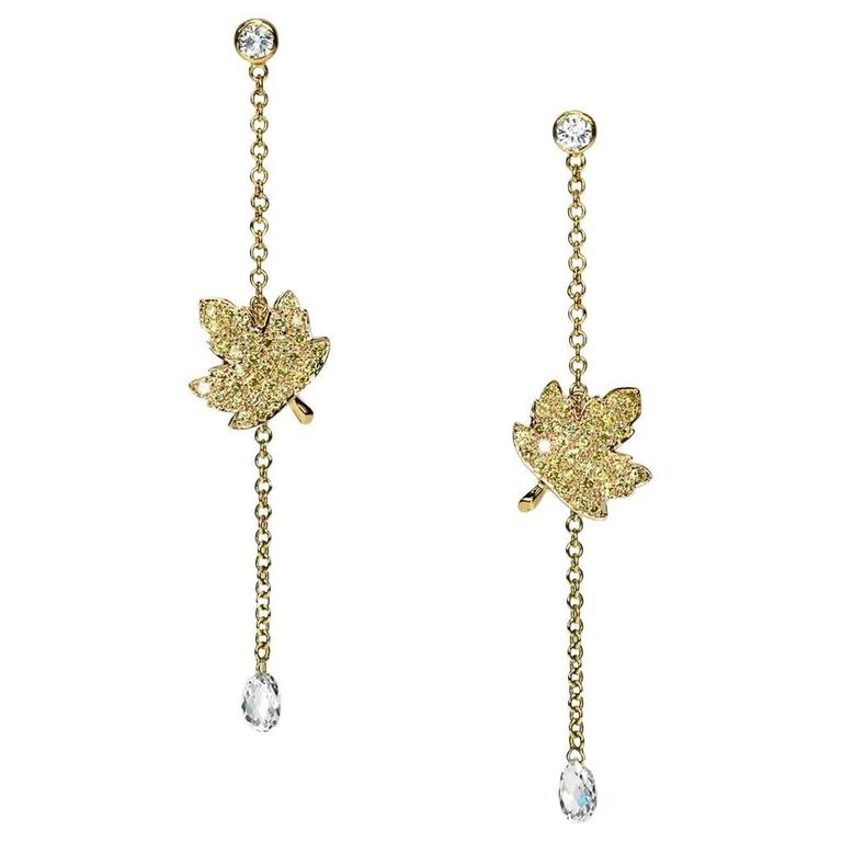 """Samuel Getz"" White and Fancy Yellow Diamond Drop Earrings with Leaf Design"
