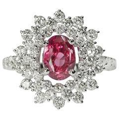 Unheated Ceylon Pink Sapphire Ring