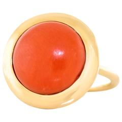 1960s Modern Coral and Gold Ring