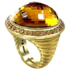 Honey Citrine Spessartite Garnet Yellow Gold Cocktail Ring Ltd Ed Handmade in NY