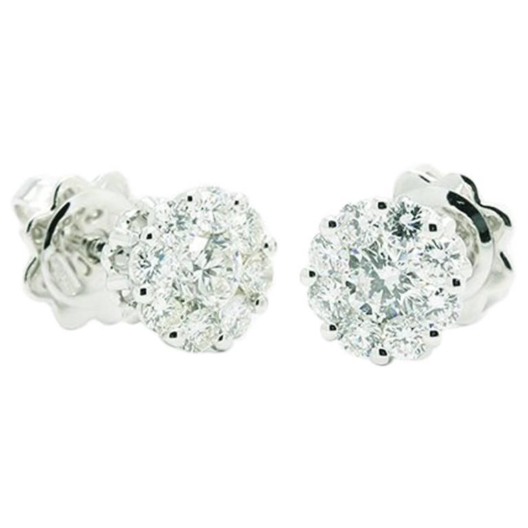Ferrucci Diamond White Gold Cluster Earstuds