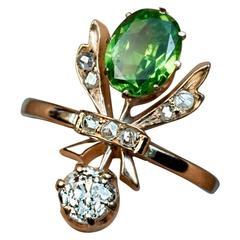 Antique Art Nouveau Russian Demantoid Diamond Gold Ring