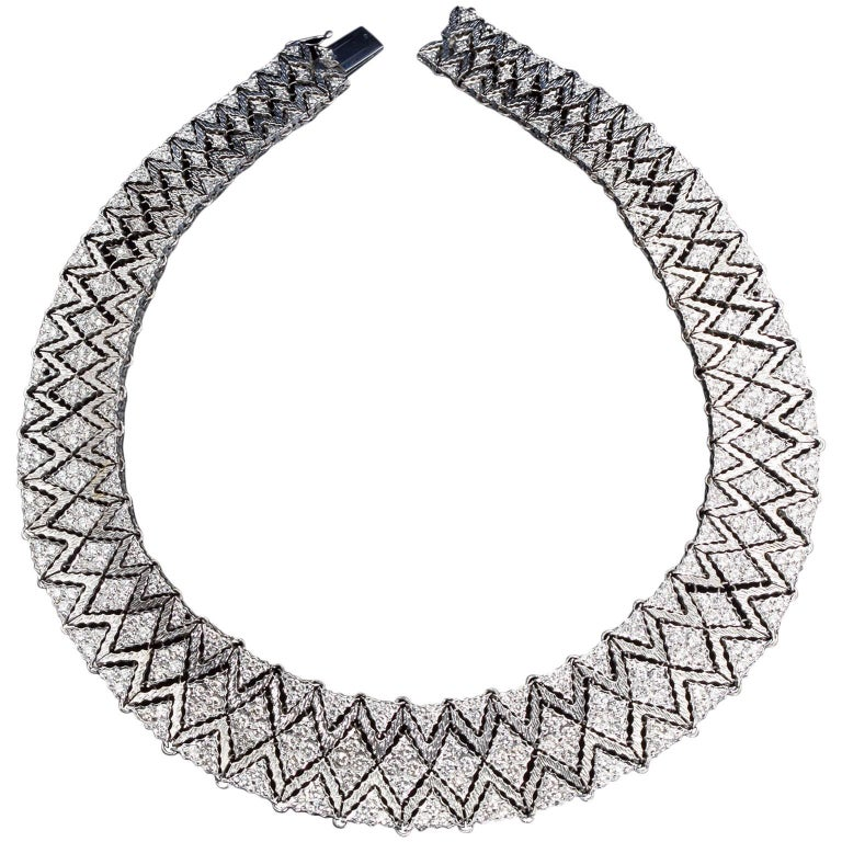 Mario Buccellati Diamond Bib Necklace For Sale