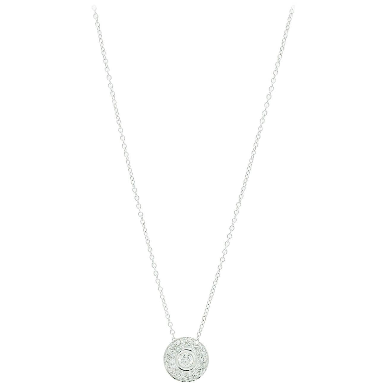0.42 Carat Diamond 18k white Gold Necklace Pendant