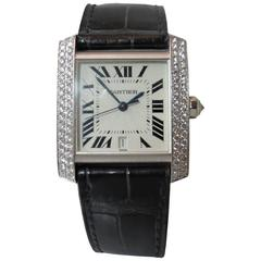 Cartier White Gold Diamond Tank Francaise Strap Automatic Wristwatch