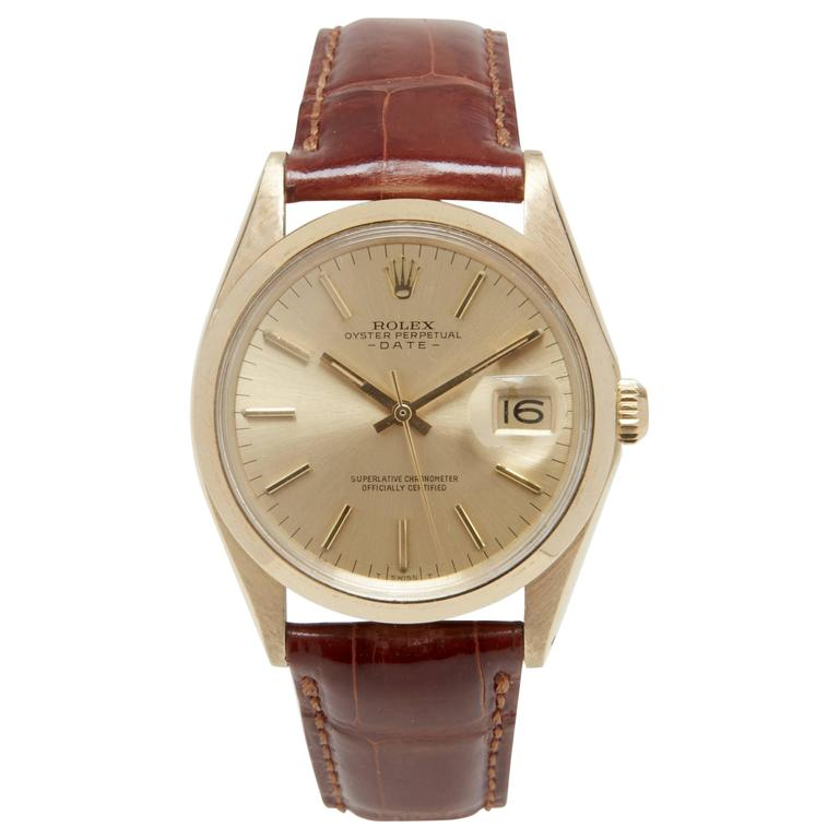 Rolex Yellow Gold Oyster Perpetual Date Wristwatch