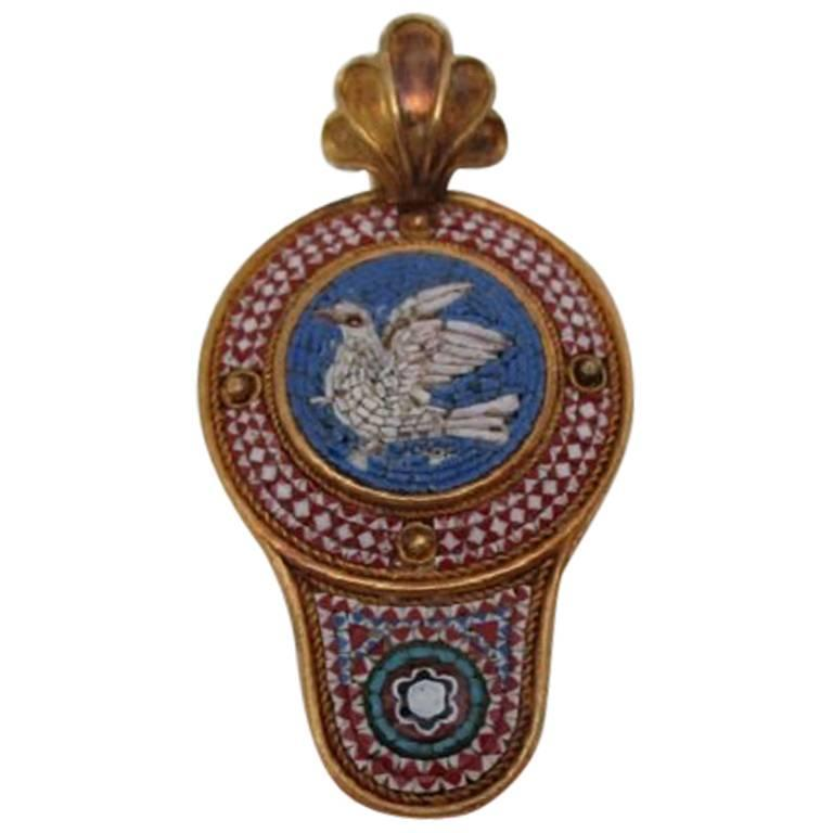 1860 Victorian Micro Mosaic Gold Pendant For Sale