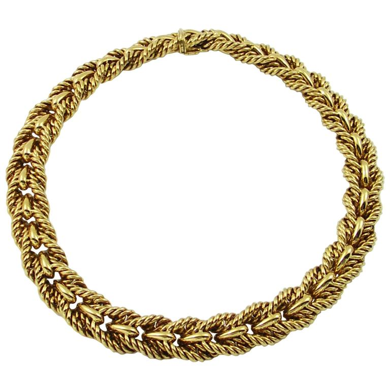 Tiffany & Co. Woven Design Gold Necklace