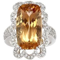13.08 carat Precious Topaz Pavé Diamond gold Ring