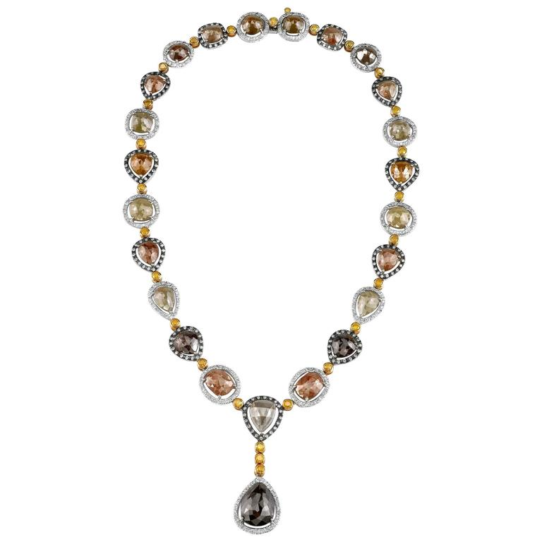 Rough Fancy Green Diamonds with Gold Accent Y Shaped Necklace