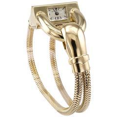 1940s Van Cleef & Arpels Ladies Yellow Gold Cadenas Retro Wristwatch