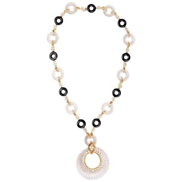 André Vassort 1960s Crystal Onyx Diamond Necklace
