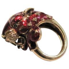 1960s Frascarolo Enamel Gold Panther  Ring