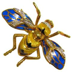 1950s Enamel Diamonds Gold Insect Pin