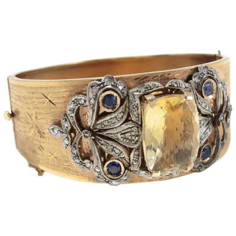 Topaz Sapphire Diamond Gold and Silver Cuff Bracelet