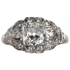 1920s Art Deco GIA Certified Old Mine Brilliant Cut Diamonds Engagement Ring