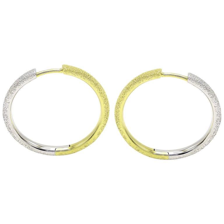Silver and Gold Textured Medium Hoop Earrings