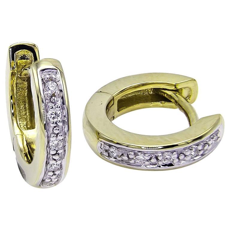 Diamond  and 14k Gold Huggie Hoop Earrings