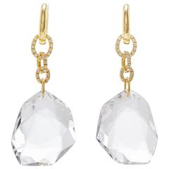 H. Stern 0.79 Carat Diamonds 100.35 Carat Quartz Gold DVF Earrings