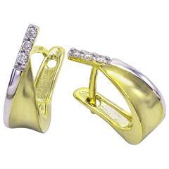 Diamond Two-Color Gold Huggie Hoop Earrings